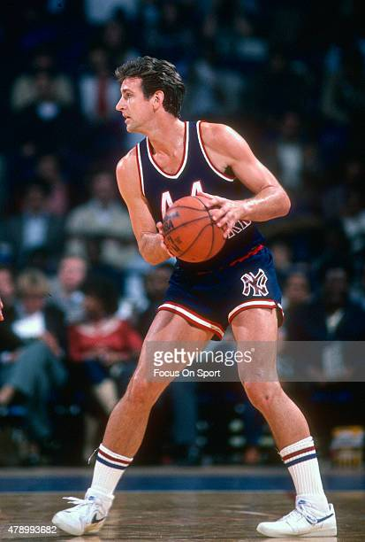 Paul Westphal of the New York Knicks looks to pass against the Washington Bullets during an NBA basketball game circa 1982 at the Capital Centre in...