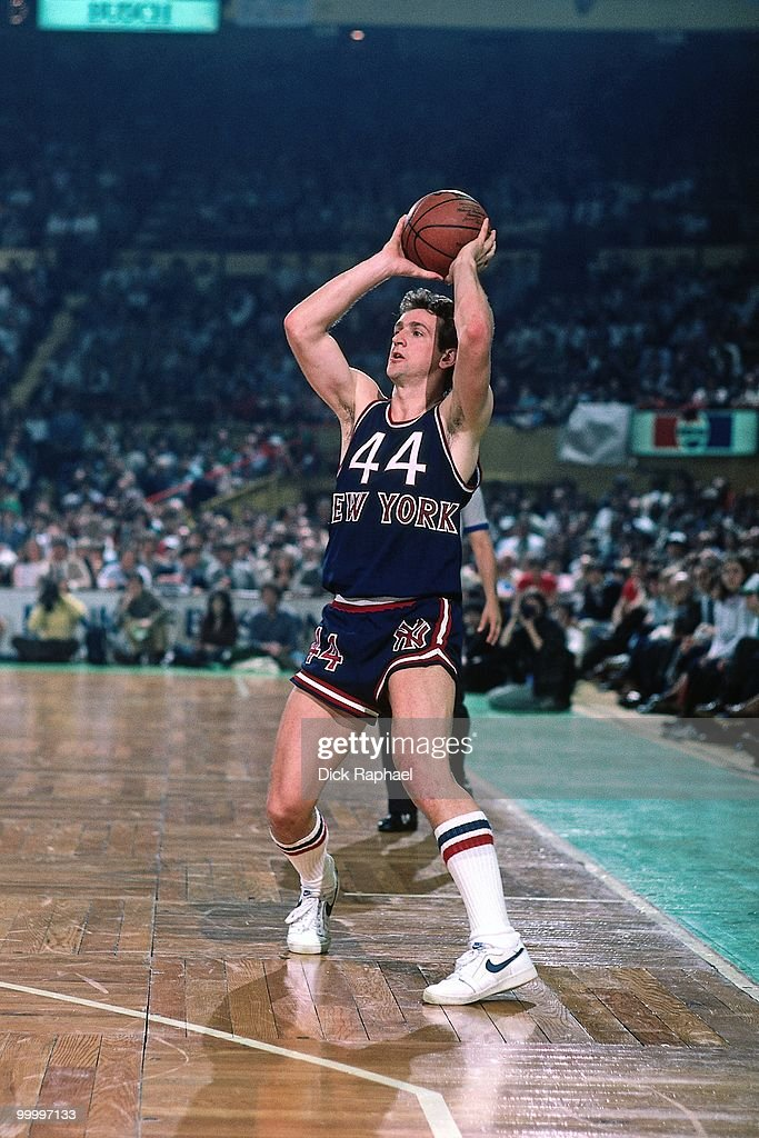 Paul Westphal #44 of the New York Knicks passes against the Boston Celtics during a game played in 1983 at the Boston Garden in Boston, Massachusetts.