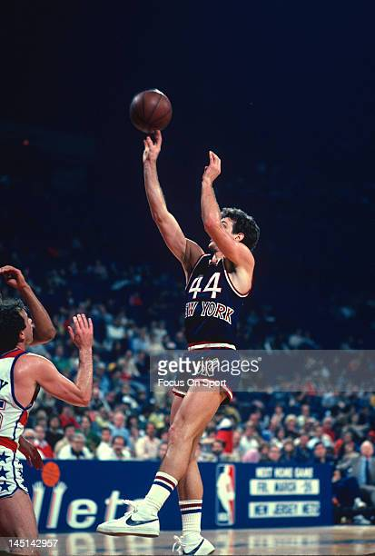 Paul Westphal of the New York Knicks shoots against the Washington Bullets during an NBA basketball game circa 1982 at the Capital Centre in Landover...