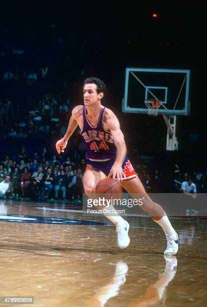 Paul Westphal of the Phoenix Suns dribbles the ball against the Washington Bullets during an NBA basketball game circa 1979 at the Capital Centre in...