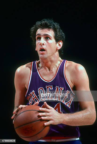 Paul Westphal of the Phoenix Suns sets to shoot a free throw against the Washington Bullets during an NBA basketball game circa 1979 at the Capital...