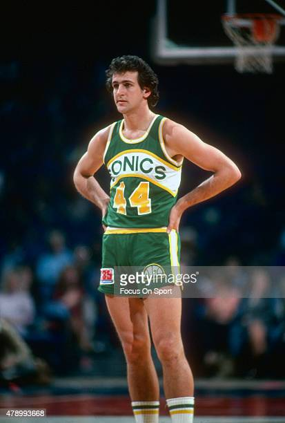 Paul Westphal of the Seattle Super Sonics looks on against the Washington Bullets during an NBA basketball game circa 1980 at the Capital Centre in...