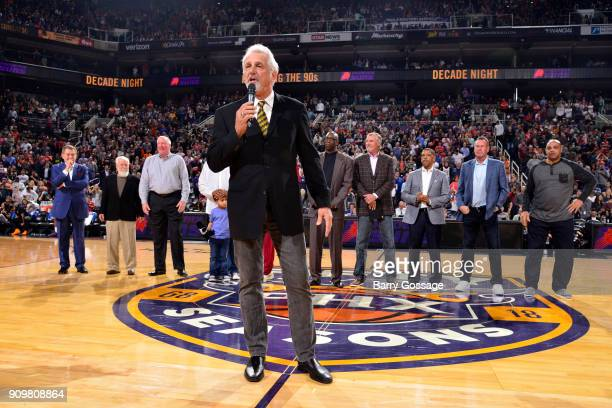 Paul Westphal speaks to the fans as part of their 50th season celebration before the game against the Houston Rockets on January 12 2018 at Talking...