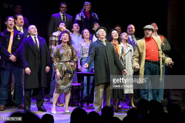 Paul Whitehouse as Grandad Tom Bennett as Del Boy and Ryan Hutton as Rodney appear on stage during the opening night of Only Fools and Horses The...