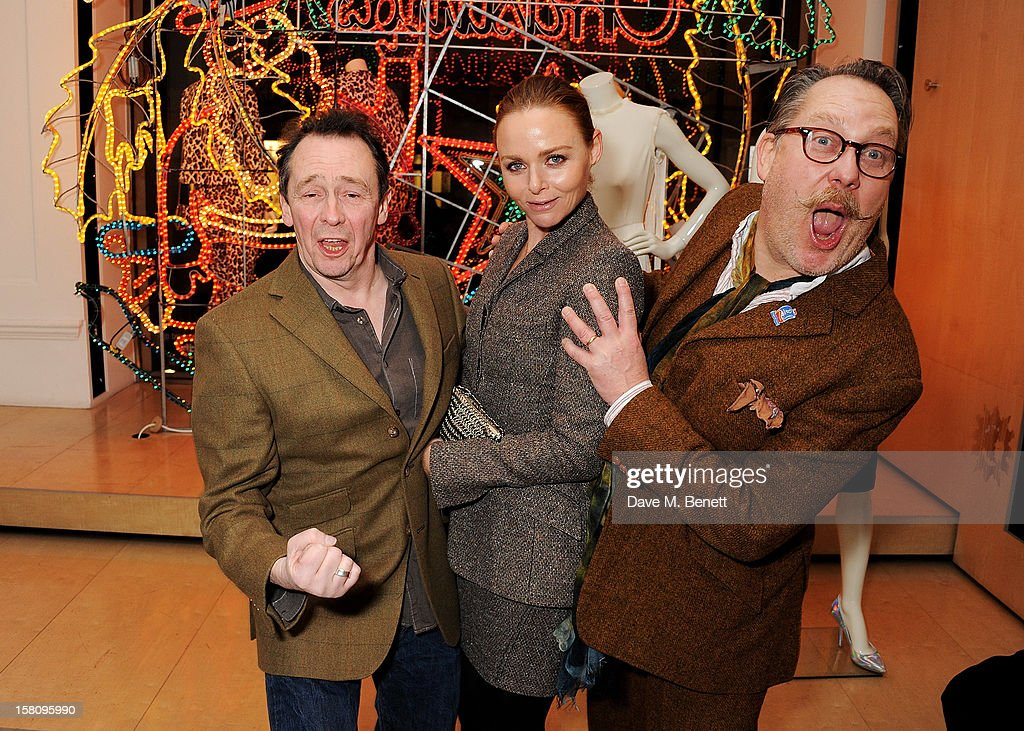 Paul Whitehouse, Stella McCartney and Vic Reeves attend the switching-on of the Stella McCartney Bruton Street store Christmas lights on December 10, 2012 in London, England.