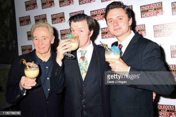 Paul Whitehouse Tom Bennett and Ryan Hutton attend the after show party following the opening night of Only Fools and Horses The Musical at Theatre...