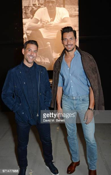 Paul Wilkinson and David Gandy attend the Barbour International presentation during London Fashion Week Men's June 2018 at the ICA on June 11 2018 in...