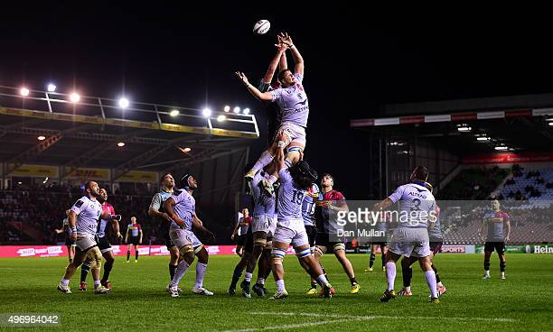 Paul Willemse of Montpellier and Charlie Matthews of Harlequins compete for the line out during the European Rugby Challenge Cup Pool 3 match between...