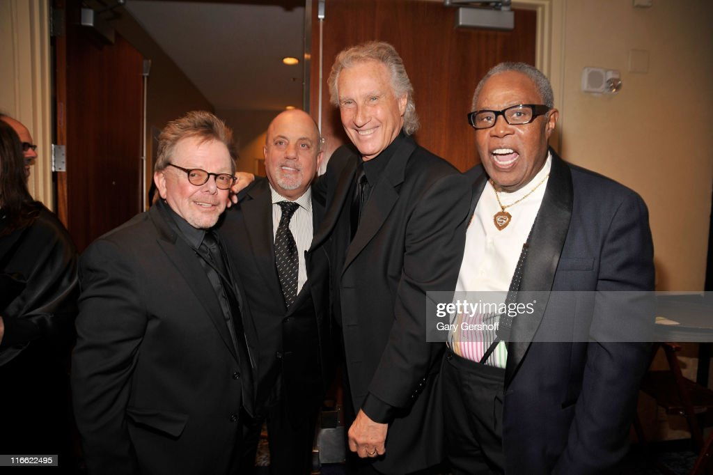 Paul Williams, Billy Joel, Bill Medley and Sam Moore attend the Songwriters Hall of Fame 42nd Annual Induction and Awards at The New York Marriott Marquis Hotel - Shubert Alley on June 16, 2011 in New York City.