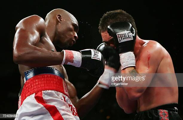 Paul Williams connects with a left uppercut to the face of Santos Pakau of New Zealand during their welterweight fight at the Mandalay Bay Events...