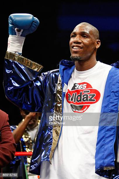 Paul Williams gestures as he is introduced before his middleweight bout against Winky Wright at the Mandalay Bay Events Center April 11 2009 in Las...