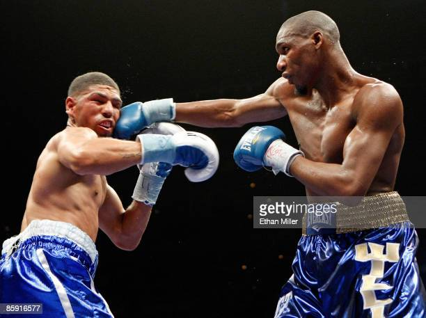 Paul Williams hits Winky Wright in the eighth round of their middleweight bout at the Mandalay Bay Events Center April 11 2009 in Las Vegas Nevada...