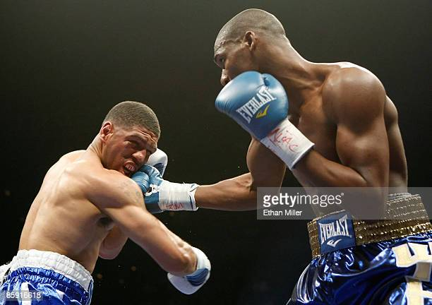 Paul Williams hits Winky Wright in the second round of their middleweight bout at the Mandalay Bay Events Center April 11 2009 in Las Vegas Nevada...