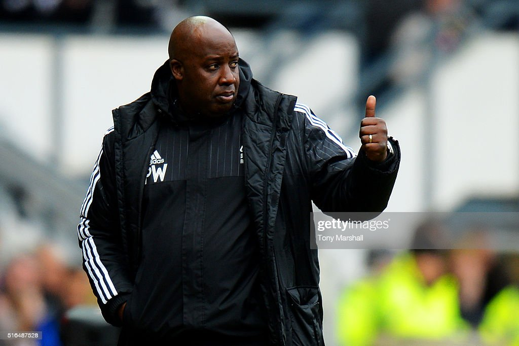 Paul Williams manager of Nottingham Forest thumbs up during the Sky Bet Championship match between Derby County and Nottingham Forest at the iPro Stadium on March 19, 2016 in Derby, United Kingdom.