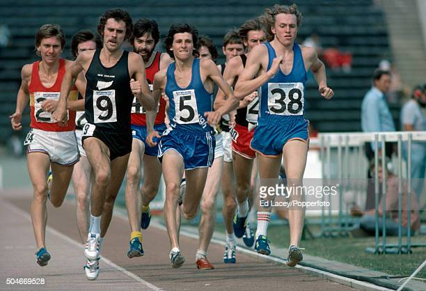 Paul Williams of Canada leads Sebastian Coe of Great Britain Dick Quax and Rod Dixon of New Zeland and Frank Clement and David Moorcroft of Great...