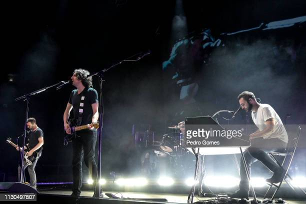 Paul Wilson Gary Lightbody and Nathan Connolly of Snow Patrol perform at Campo Pequeno on February 16 2019 in Lisbon Portugal