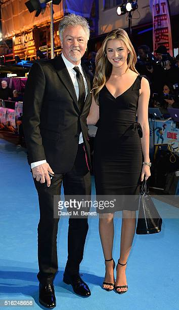 Paul Young and guest attend the European Premiere of 'Eddie The Eagle' at Odeon Leicester Square on March 17 2016 in London England