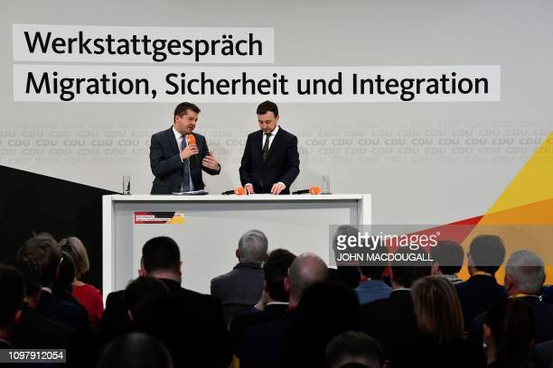 Paul Ziemiak and Sven Schulze of the Christian Democratic Union address a seminar on migration in Berlin on February 11 2019
