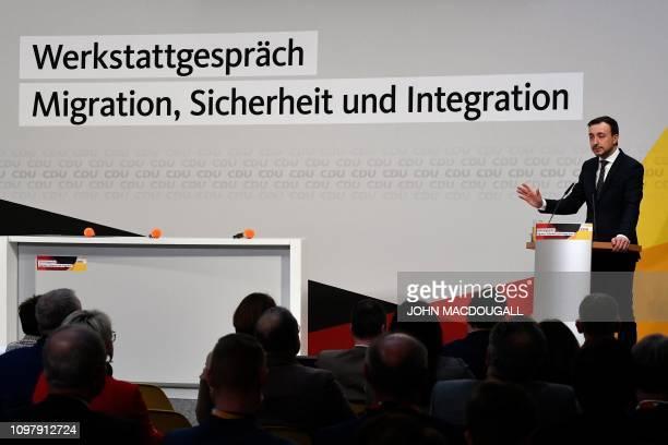 Paul Ziemiak of the Christian Democratic Union addresses a seminar on migration in Berlin on February 11 2019