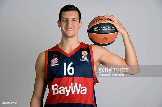 Paul Zipser #16 of FC Bayern Munich poses during the 2015/2016 Turkish Airlines Euroleague Basketball Media Day at Audi Dome on September 21 2015 in...
