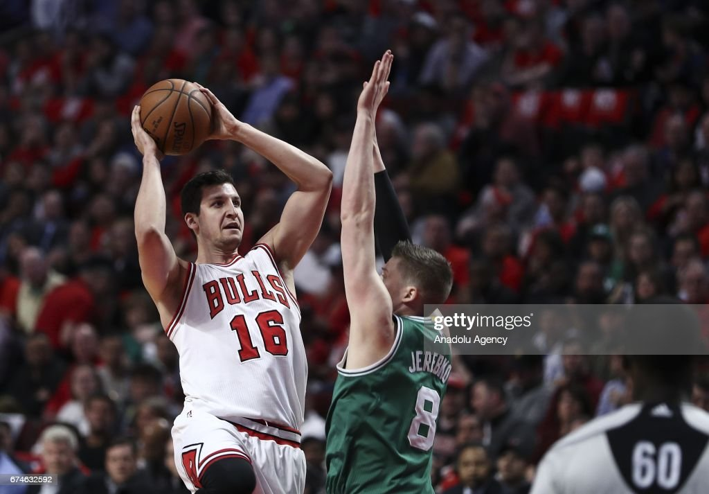 Paul Zipser (16) of Chicago Bulls in action during the 2017 NBA Playoffs between Boston Celtics and Chicago Bulls at the United Center on April 28, 2017 in Chicago, Illinois, United States. The Celtics defeated the Bulls 105-83.