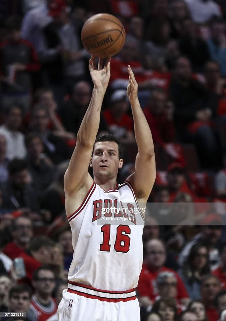 Paul Zipser (16) of Chicago Bulls in action during the NBA match between Chicago Bulls vs Boston Celtics at the United Center in Chicago, Illinois, United States on April 21, 2017.