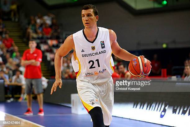 Paul Zipser of Germany leads the ball during the men's Basketball friendly match between Germany and Croatia at OEVBArena on August 16 2015 in Bremen...