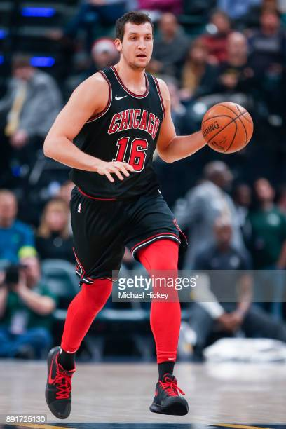 Paul Zipser of the Chicago Bulls brings the ball up court during the game against the Indiana Pacers at Bankers Life Fieldhouse on December 6 2017 in...