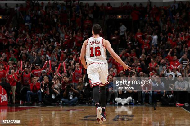 Paul Zipser of the Chicago Bulls celebrates during the game against the Boston Celtics during Game Three of the Eastern Conference Quarterfinals of...