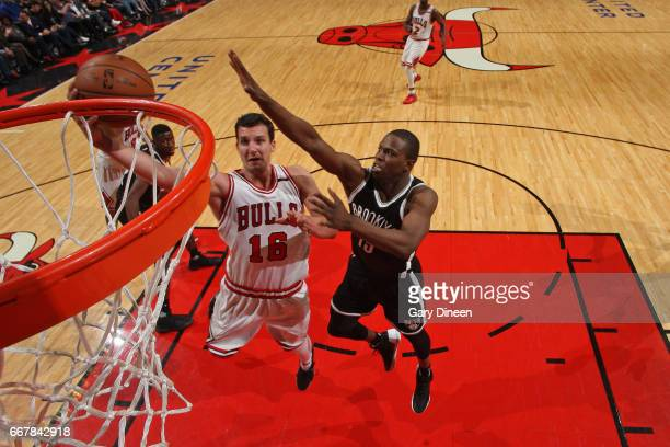 Paul Zipser of the Chicago Bulls drives to the basket against the Brooklyn Nets on April 12 2017 at the United Center in Chicago Illinois NOTE TO...