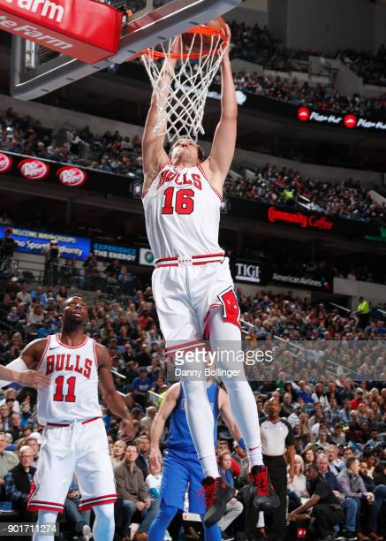 Paul Zipser of the Chicago Bulls dunks against the Dallas Mavericks on January 5 2018 at the American Airlines Center in Dallas Texas NOTE TO USER...