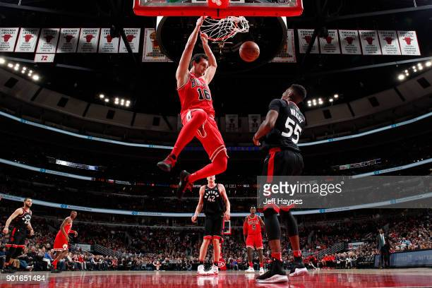 Paul Zipser of the Chicago Bulls dunks the ball against the Toronto Raptors on January 3 2018 at the United Center in Chicago Illinois NOTE TO USER...