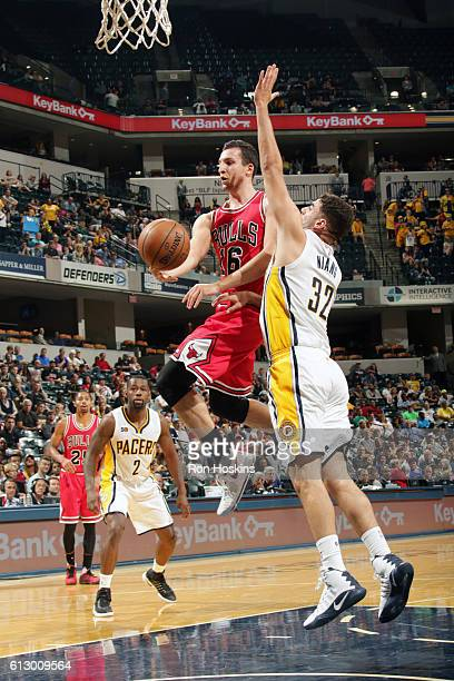 Paul Zipser of the Chicago Bulls goes for a lay up against the Indiana Pacers during a preseason game on October 6 2016 at Bankers Life Fieldhouse in...