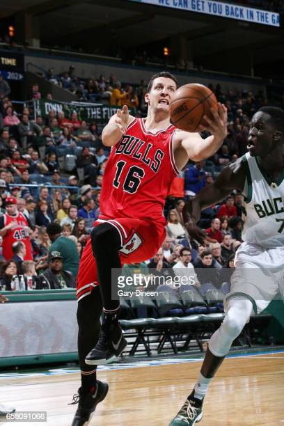 Paul Zipser of the Chicago Bulls goes for a lay up against the Milwaukee Bucks during the game on March 26 2017 at the BMO Harris Bradley Center in...