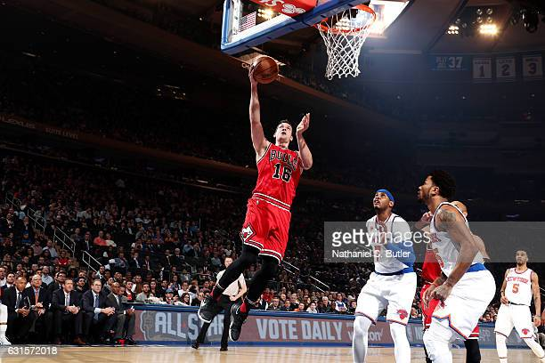 Paul Zipser of the Chicago Bulls goes for the lay up during the game against the New York Knicks on January 12 2017 at Madison Square Garden in New...