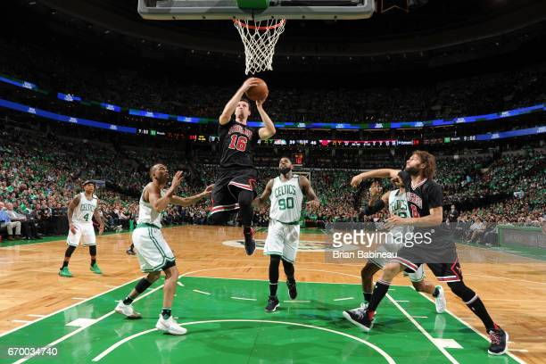 Paul Zipser of the Chicago Bulls goes to the basket against the Boston Celtics during Game Two of the Eastern Conference Quarterfinals of the 2017...