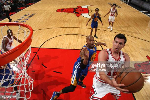 Paul Zipser of the Chicago Bulls goes up for a lay up against the Golden State Warriors on March 2 2017 at the United Center in Chicago Illinois NOTE...