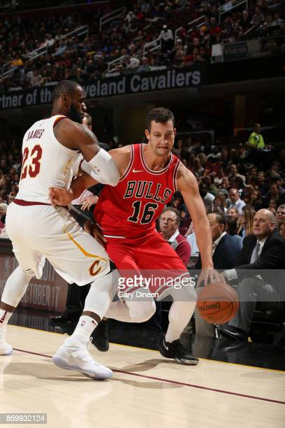 Paul Zipser of the Chicago Bulls handles the ball against the Cleveland Cavaliers during a preseason game on October 10 2017 at Quicken Loans Arena...