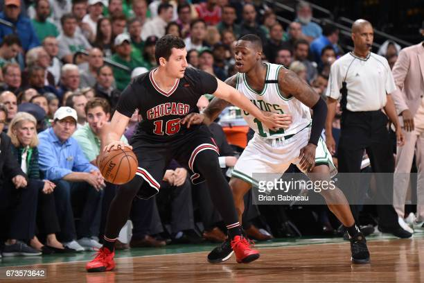 Paul Zipser of the Chicago Bulls handles the ball against the Boston Celtics during Game Five of the Eastern Conference Quarterfinals of the 2017 NBA...