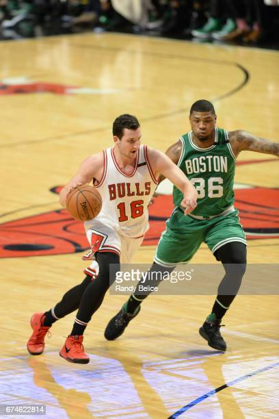 Paul Zipser of the Chicago Bulls handles the ball against the Boston Celtics in Game Six of the Eastern Conference Quarterfinals of the 2017 NBA...