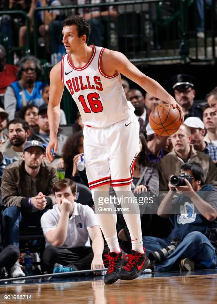 Paul Zipser of the Chicago Bulls handles the ball against the Dallas Mavericks on January 5 2018 at the American Airlines Center in Dallas Texas NOTE...