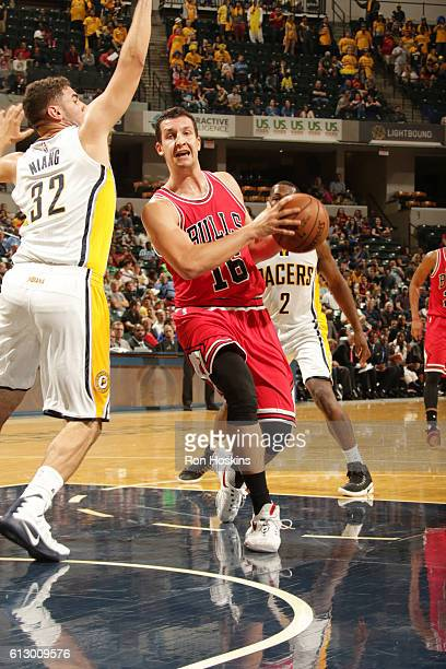 Paul Zipser of the Chicago Bulls handles the ball against the Indiana Pacers during a preseason game on October 6 2016 at Bankers Life Fieldhouse in...
