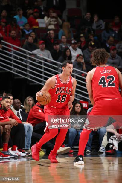 Paul Zipser of the Chicago Bulls handles the ball against the Indiana Pacers on November 10 2017 at the United Center in Chicago Illinois NOTE TO...