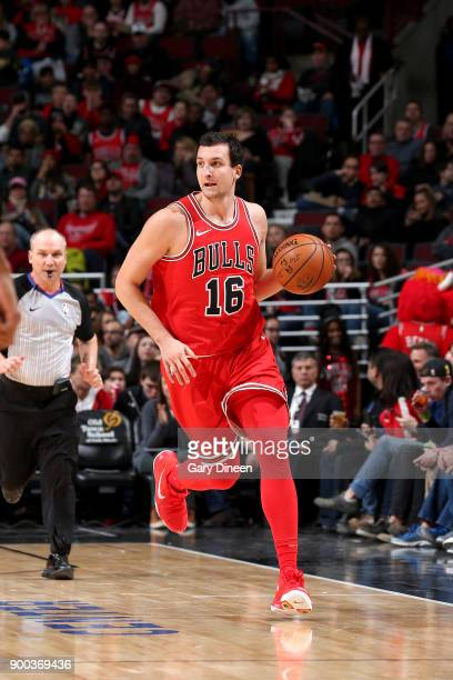 Paul Zipser of the Chicago Bulls handles the ball against the Portland Trail Blazers on January 1 2018 at the United Center in Chicago Illinois NOTE...