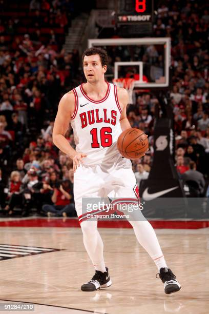 Paul Zipser of the Chicago Bulls handles the ball against the Portland Trail Blazers on January 31 2018 at the Moda Center in Portland Oregon NOTE TO...