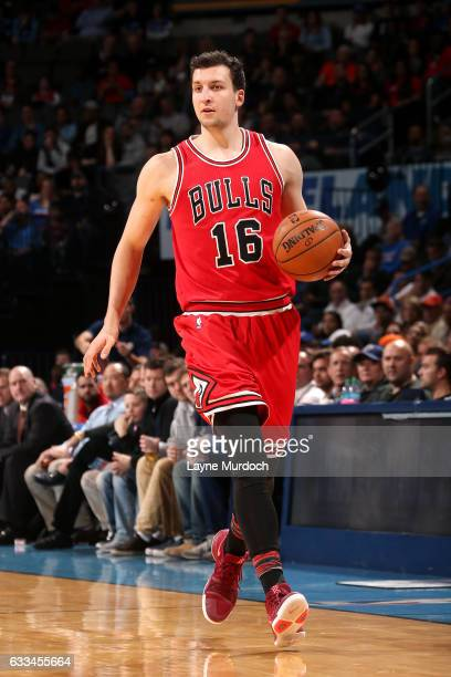 Paul Zipser of the Chicago Bulls handles the ball during the game against the Oklahoma City Thunder on February 1 2017 at Chesapeake Energy Arena in...