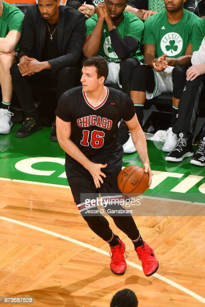 Paul Zipser of the Chicago Bulls handles the ball during the game against the Boston Celtics in Game Five of the Eastern Conference Quarterfinals of...