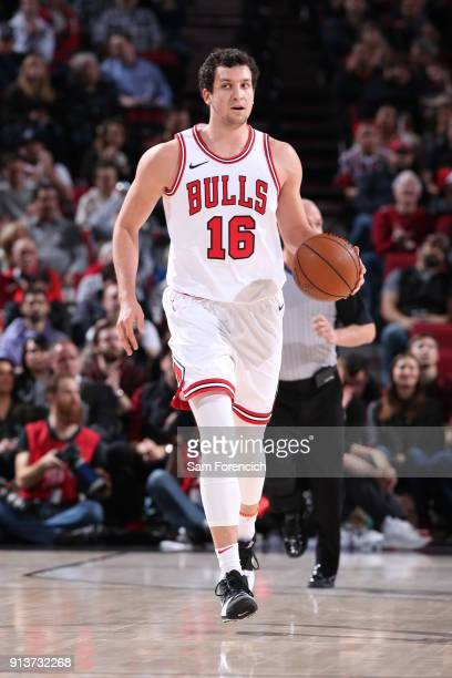 Paul Zipser of the Chicago Bulls handles the ball during the game against the Portland Trail Blazers on January 31 2018 at the Moda Center Arena in...