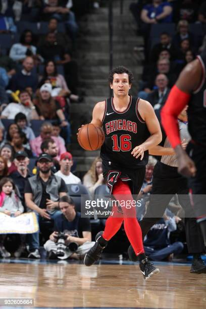 Paul Zipser of the Chicago Bulls handles the ball during the game against the Memphis Grizzlies on March 15 2018 at FedExForum in Memphis Tennessee...