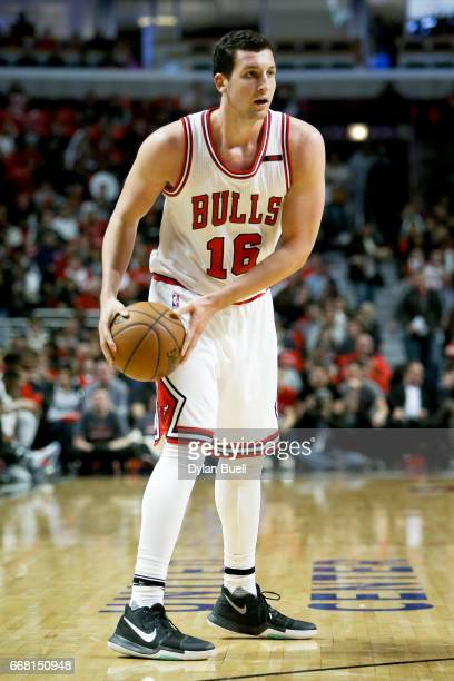 Paul Zipser of the Chicago Bulls handles the ball in the second quarter against the Brooklyn Nets at United Center on April 12 2017 in Chicago...